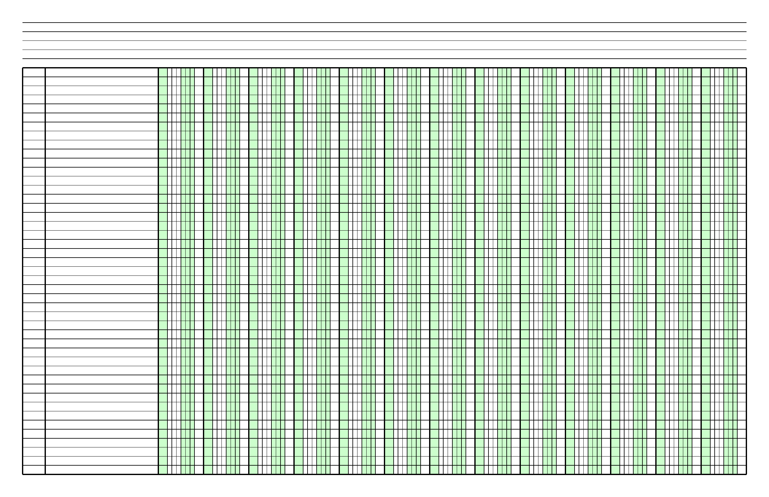 Columnar Paper With Thirteen Columns On Ledger Sized Paper