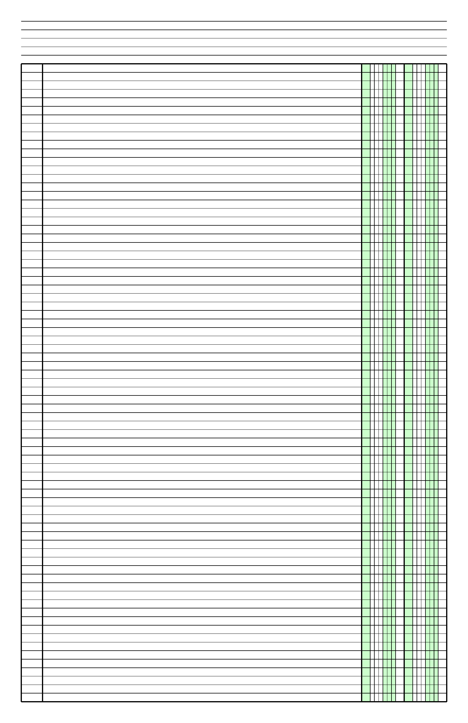 Columnar Paper With Two Columns On Ledger Sized Paper In