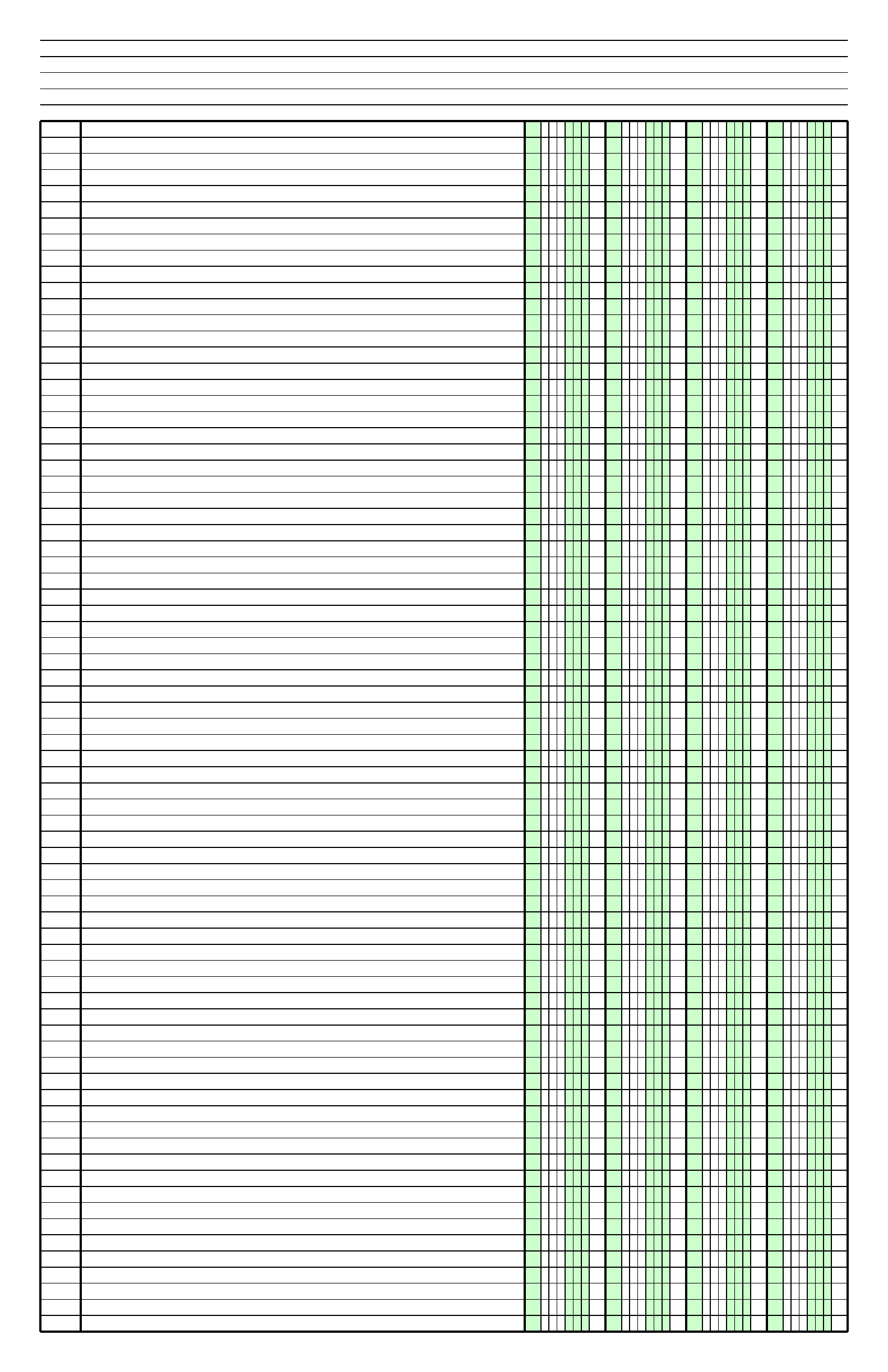 Columnar Paper With Four Columns On Ledger Sized Paper In