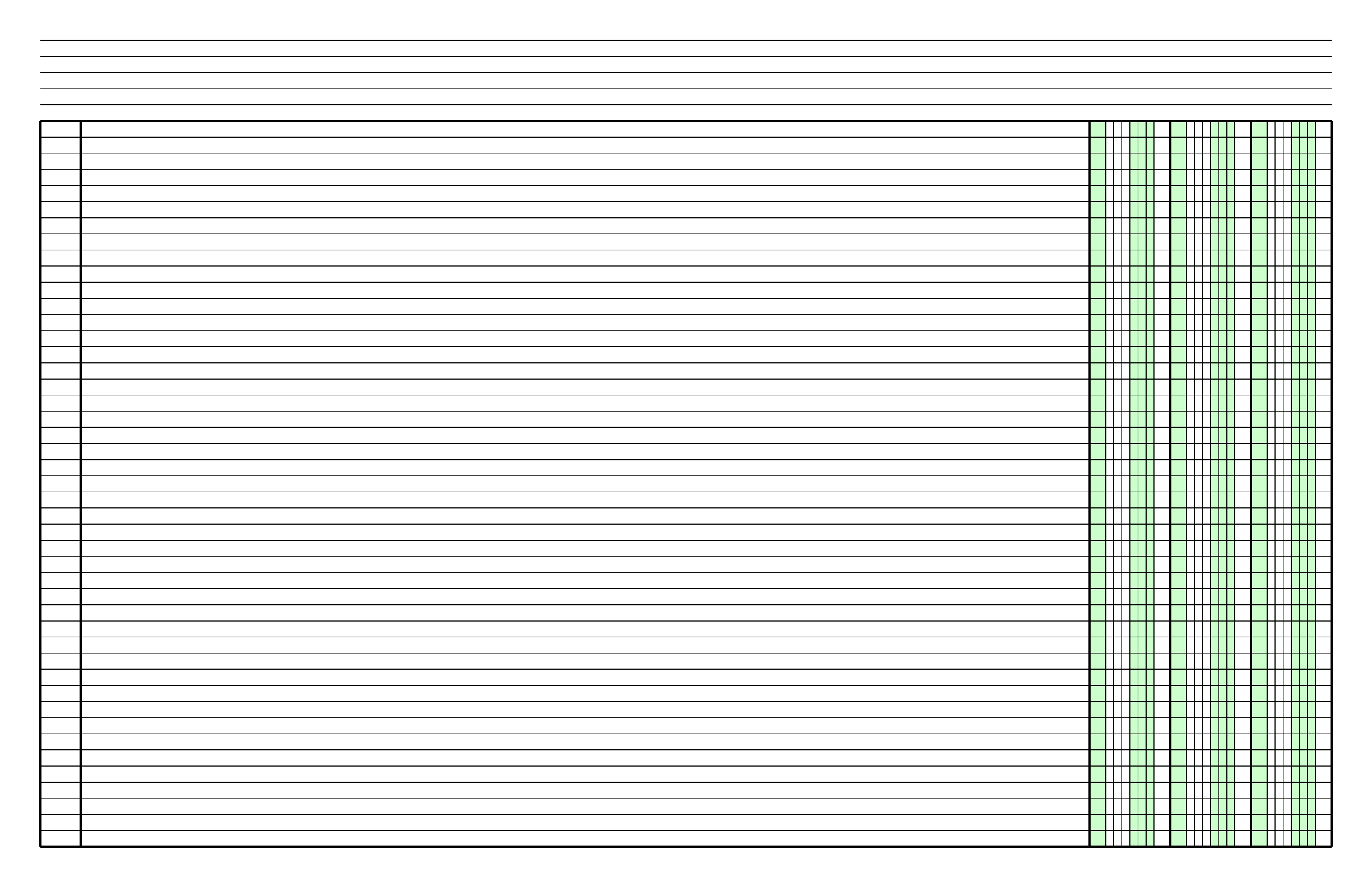 Columnar Paper With Three Columns On Ledger Sized Paper In