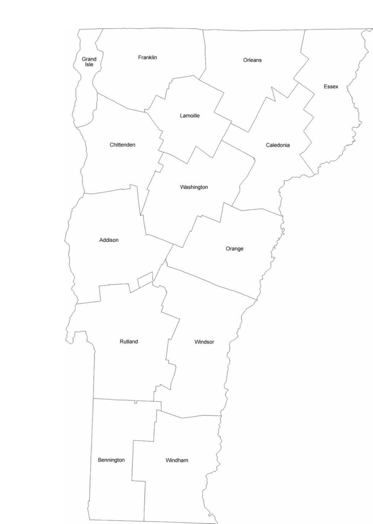Vermont County Map With County Names Free Download