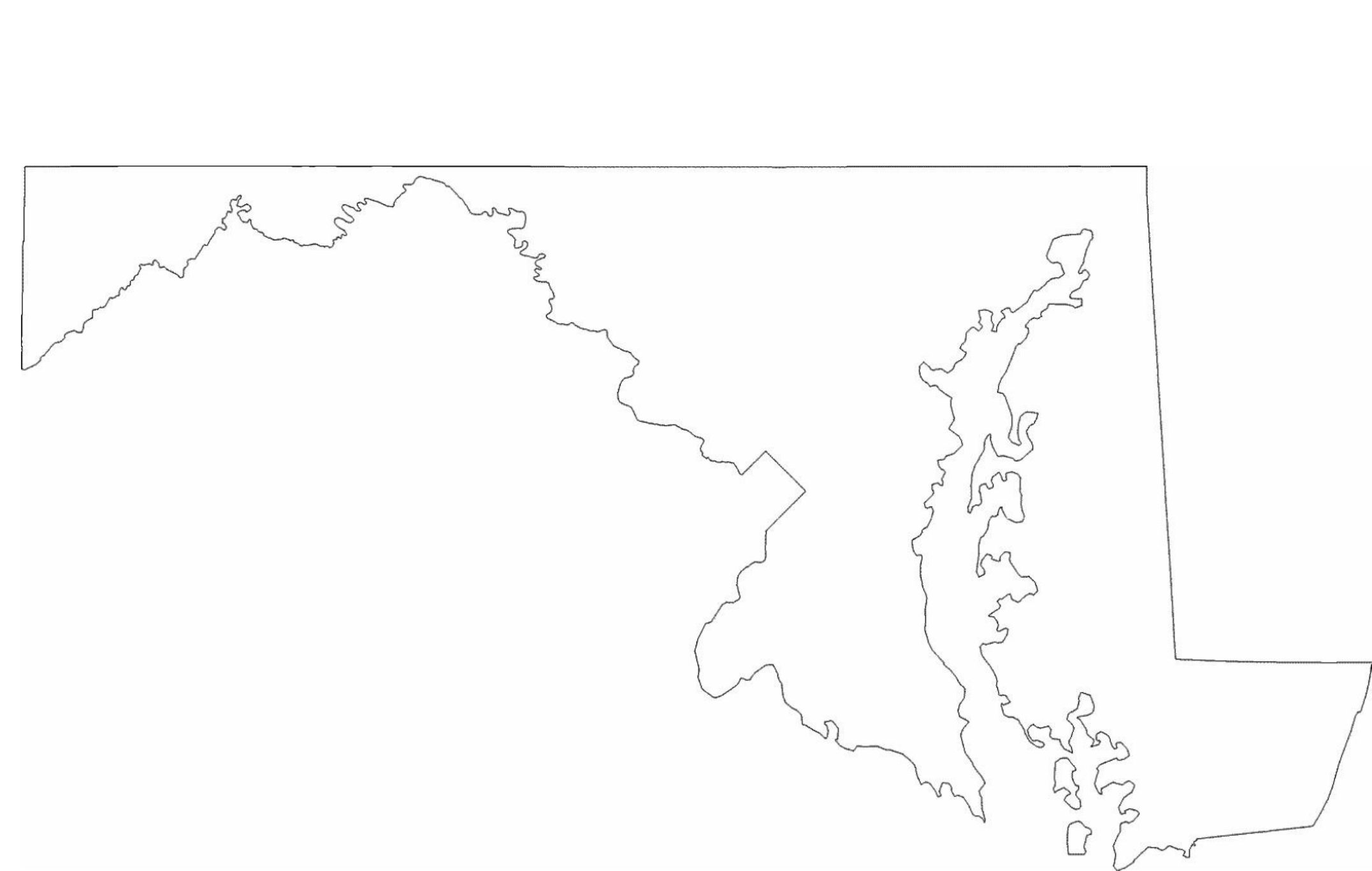 Maryland State Outline Map Free Download