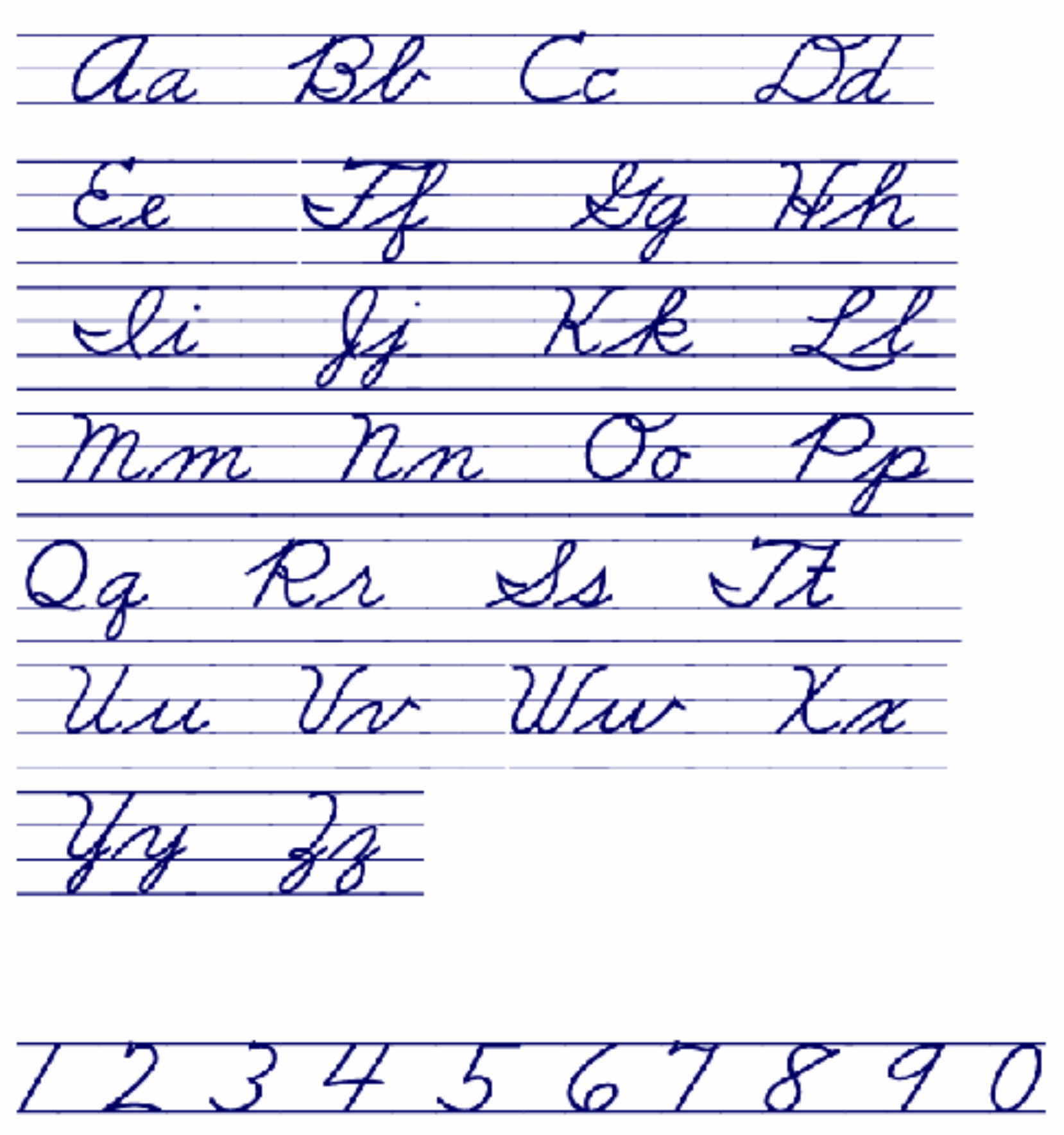 Cursive Handwriting Chart Free Download