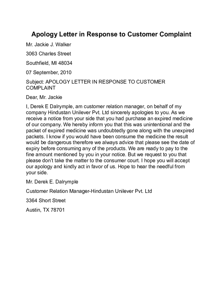 Complaint letter on cleanliness just b cause for Customer response letter templates