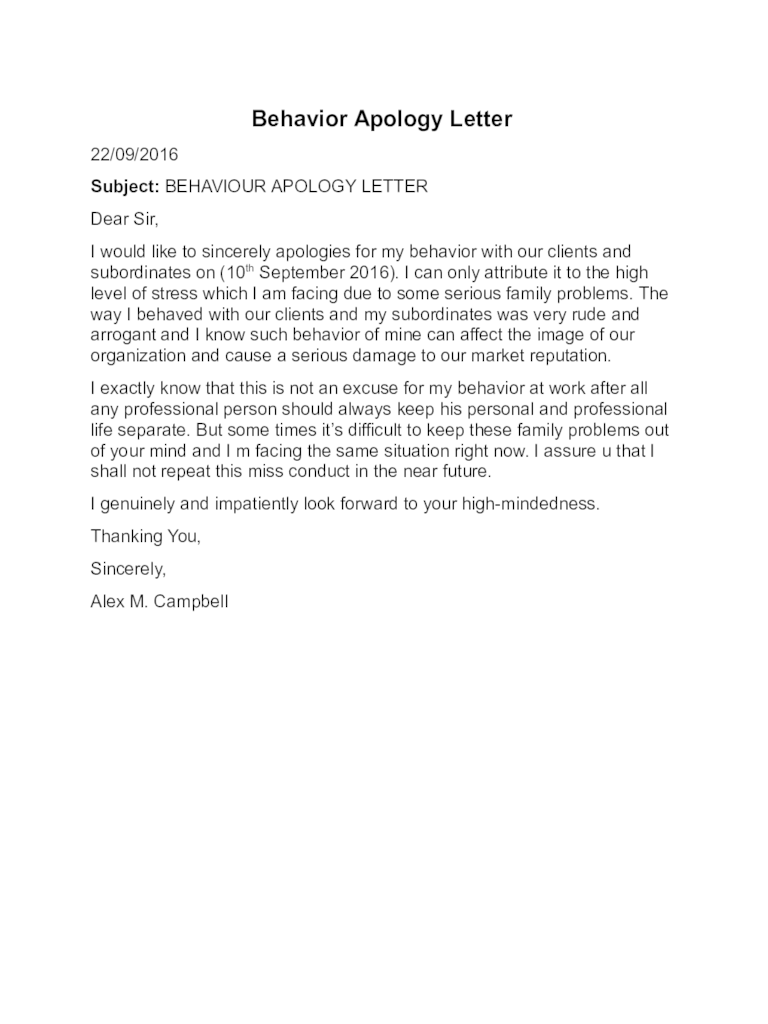 Business Letter Apology For Error doc business apology letter – Apology Letter Sample