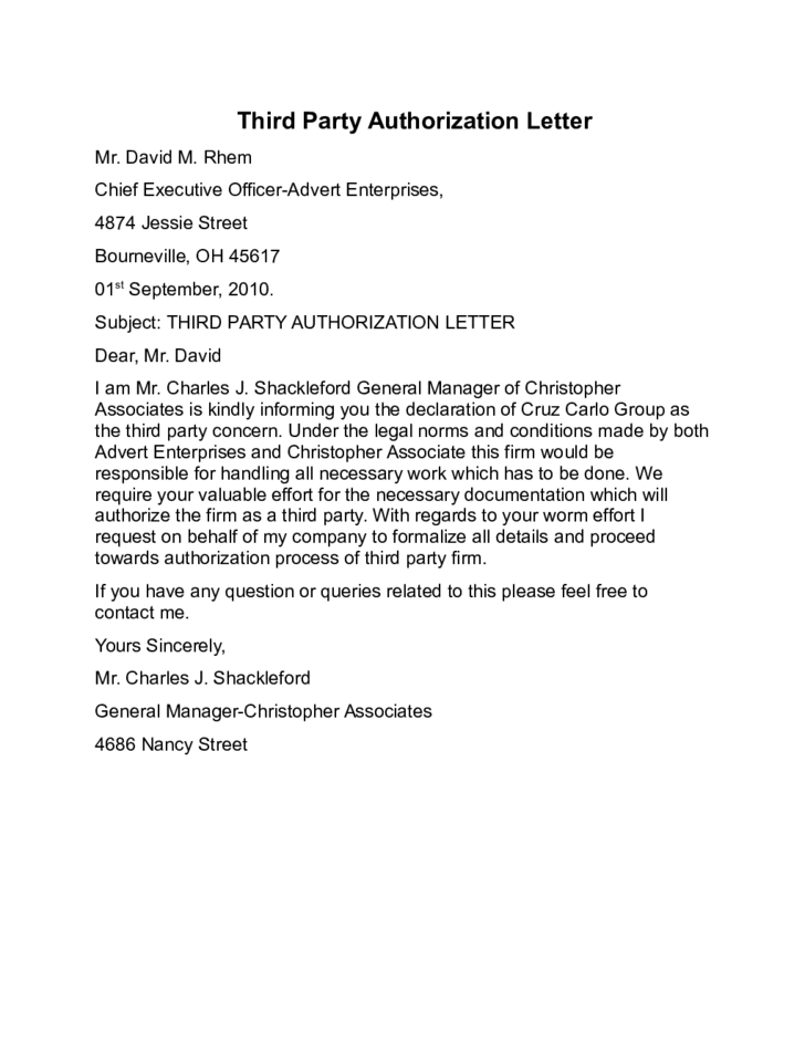 Sample Third Party Authorization Letter | 3rd Party Authorization Letter Design Templates