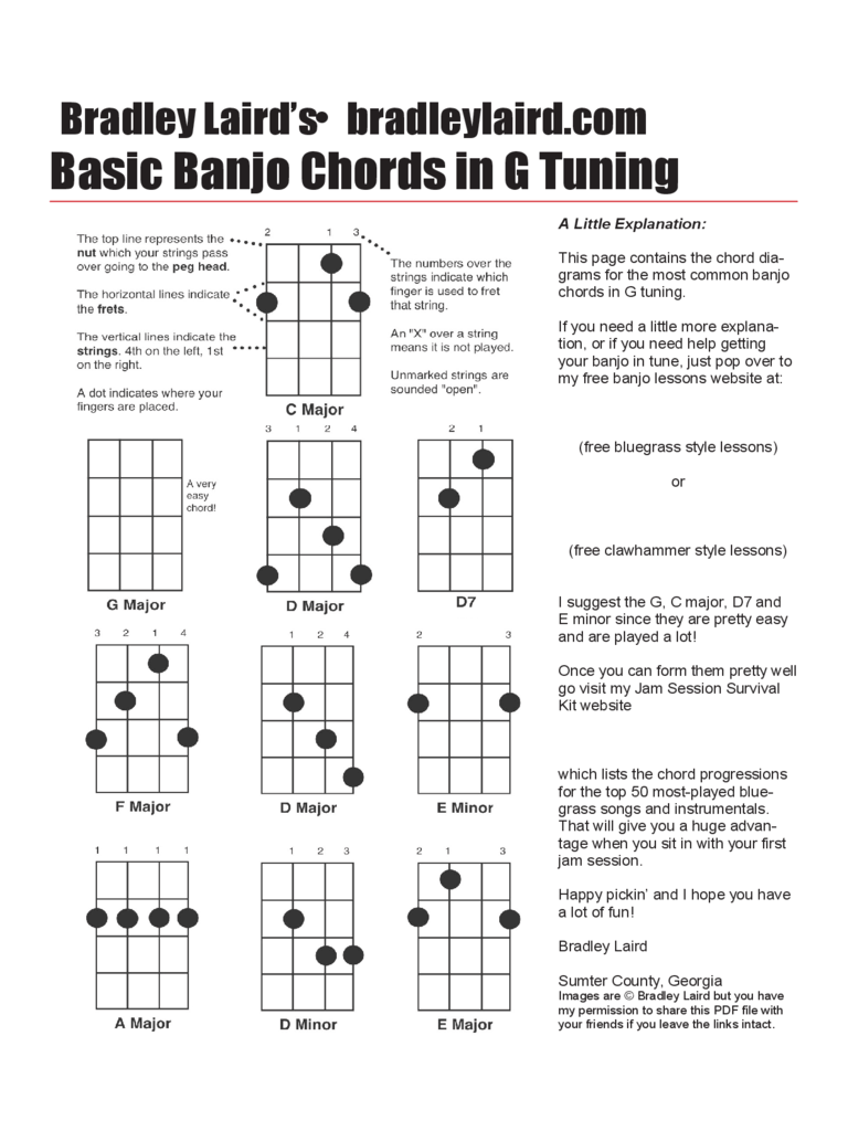 Banjo Chord Chart Template 5 Free Templates In PDF Word Excel Download