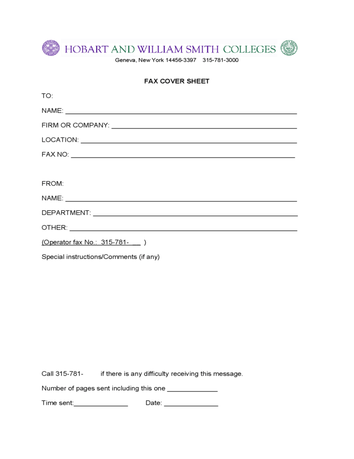 Fax Cover Sheet New York Free Download