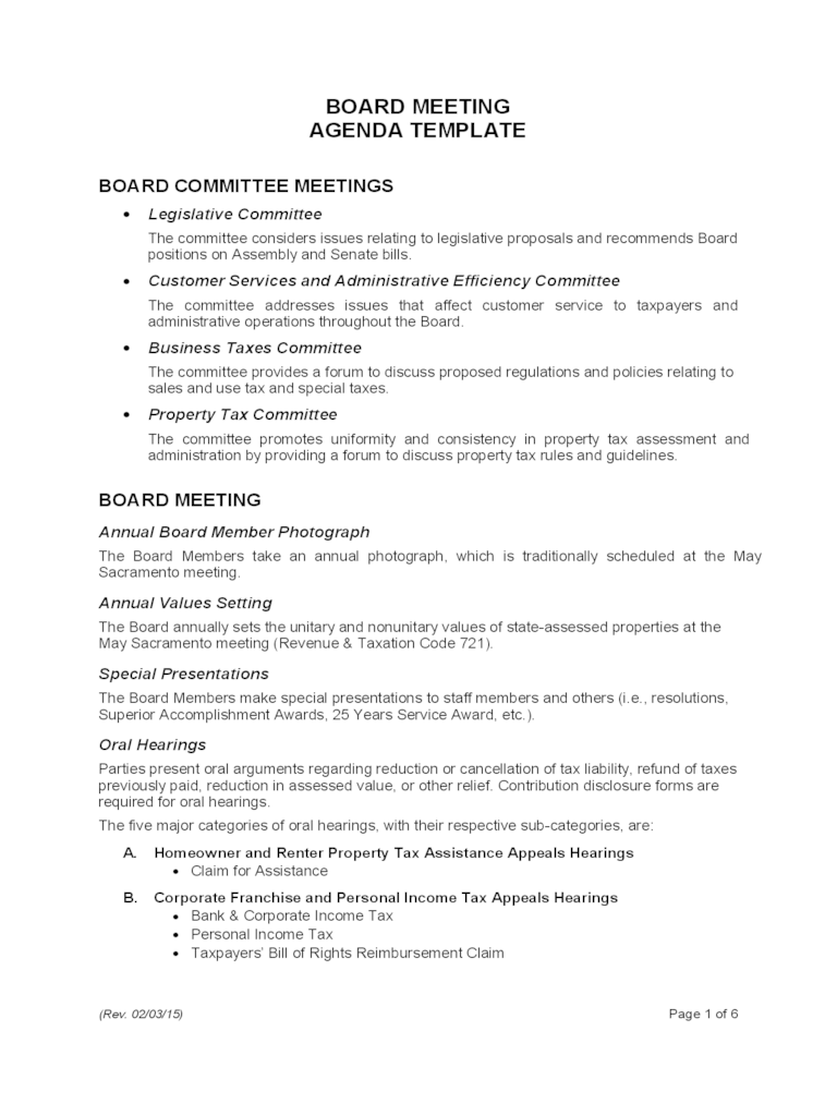 Examples of standing items are: Board Meeting Agenda Template California Free Download