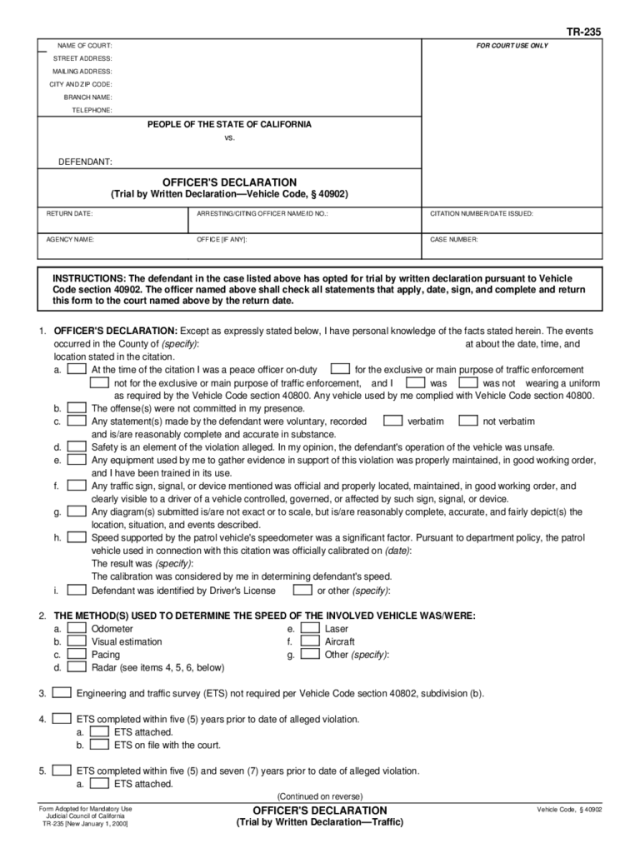 California Traffic Infractions Forms - 29 Free Templates in PDF