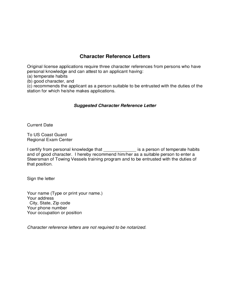 Sample Character Reference Doc Doc Sample Character Reference Letter