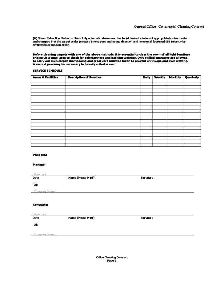 Cleaning Contract Forms Free