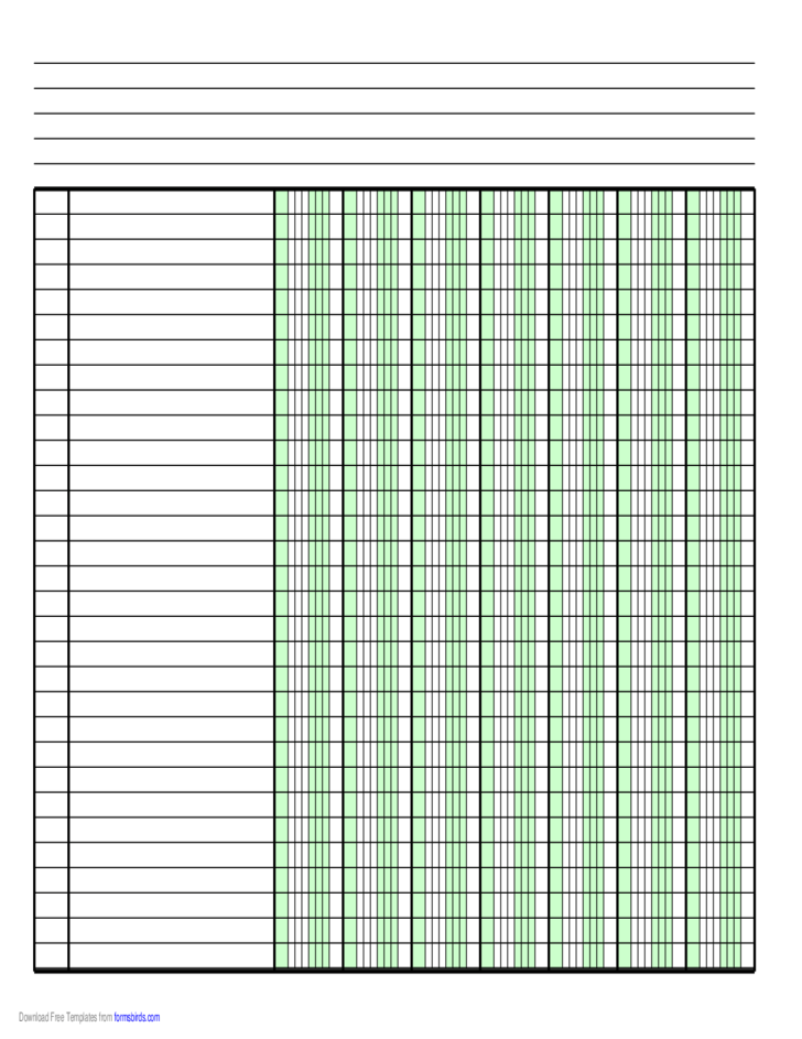 Columnar Paper With Seven Columns On A4 Sized Paper In Landscape Orientation Free Download