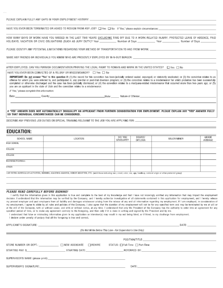 In N Out Burger Job Application Form Free Download