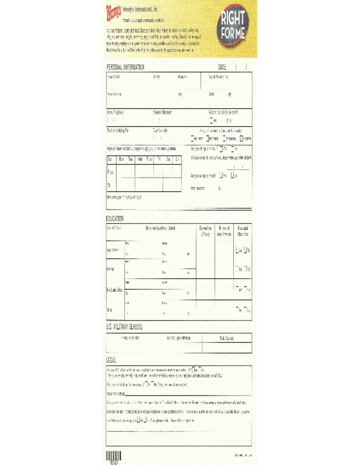 Wendy39s Job Application Form Free Download