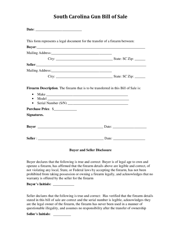 South Carolina Motor Vehicle Bill Sale Form