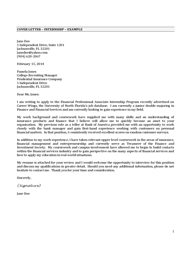cover letter apa style sample - Cover Letter For Internship Example