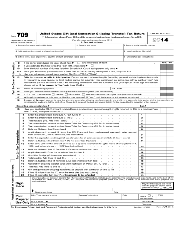 Gift Tax Return Form 709 Instructions Dealssite