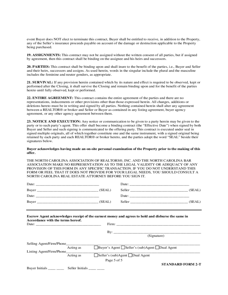Offer To Purchase And Contract North Carolina Free Download
