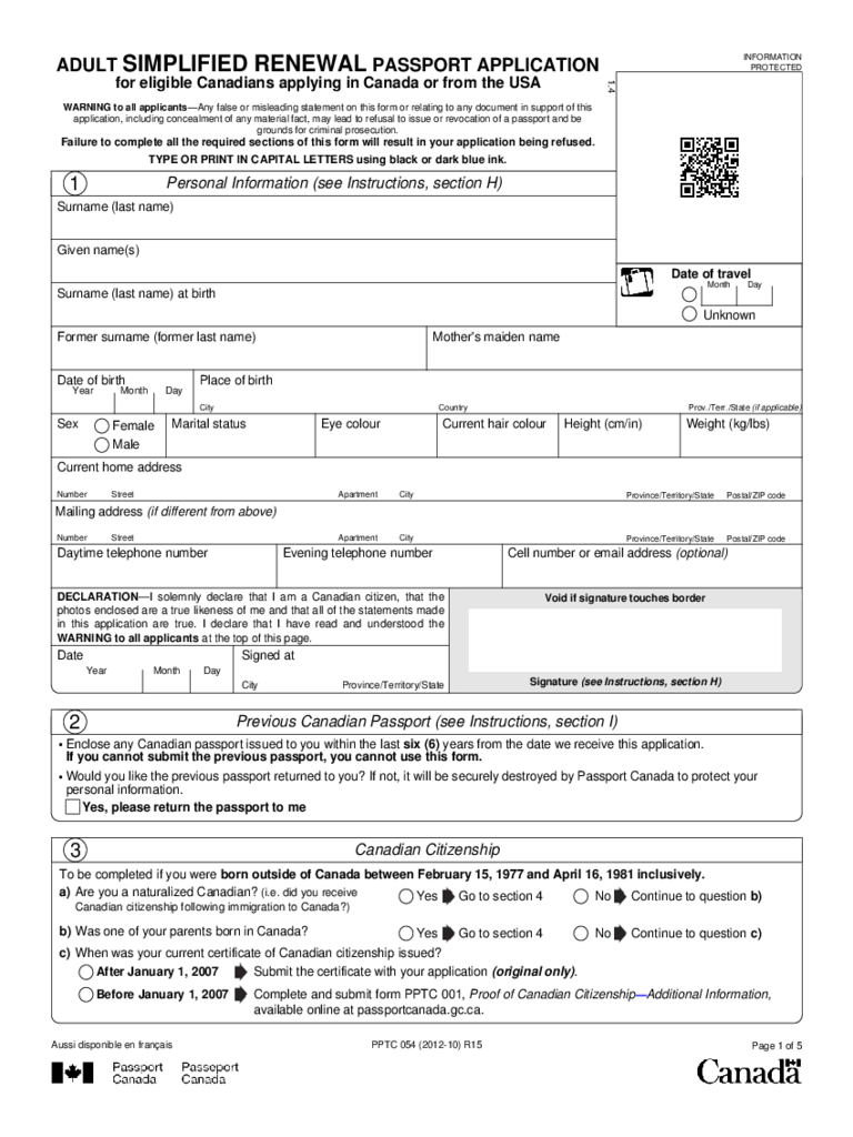 Canadian Pport Application Form For Adults Choice Image - free ... on