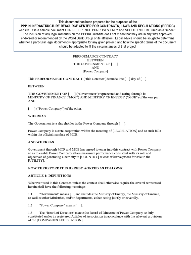 Performance Contract Template 2 Free Templates In PDF Word Excel Download