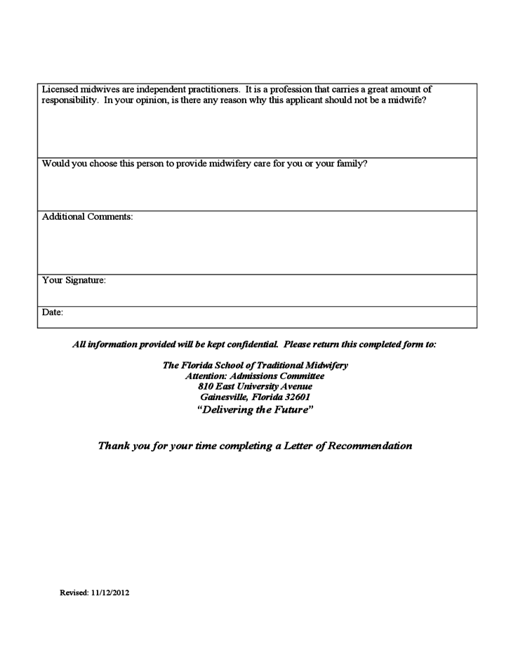 Sample Letter Of Recommendation Free Download