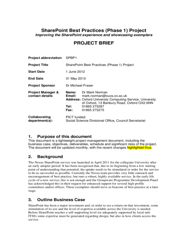 Project Brief Template 4 Free Templates in PDF Word