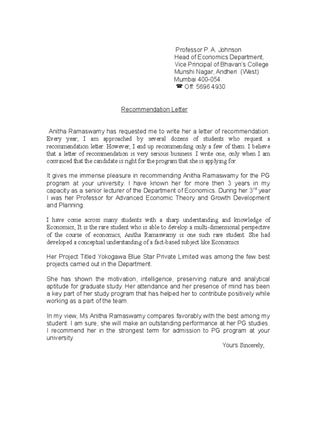 letter of recommendation for college professor position mini