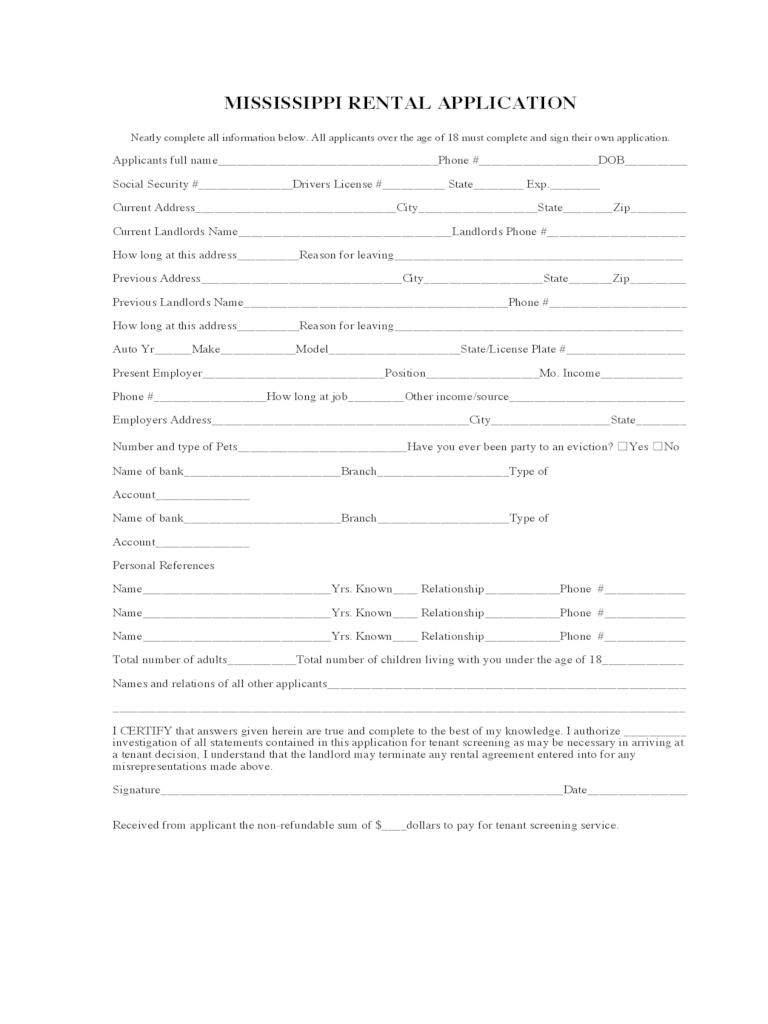 Mississippi Rent And Lease Template Free Templates In PDF Word Excel To Print