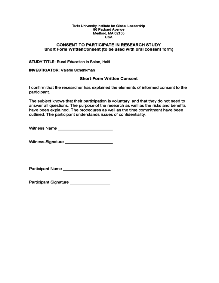 Sample Informed Consent Form Research