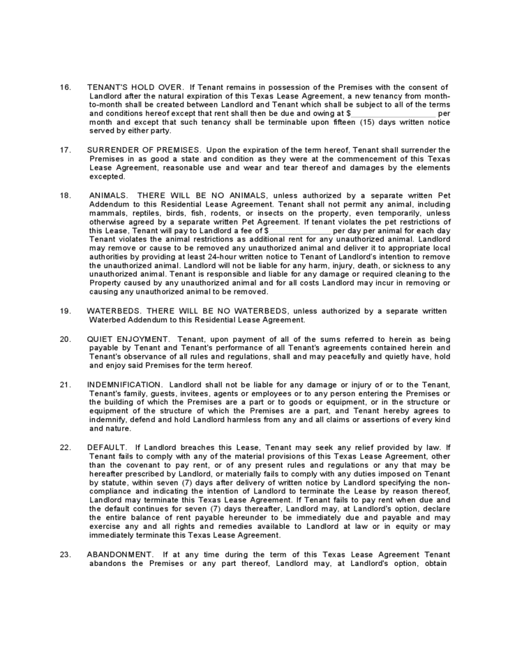 Texas Standard Residential Lease Agreement Form Free Download