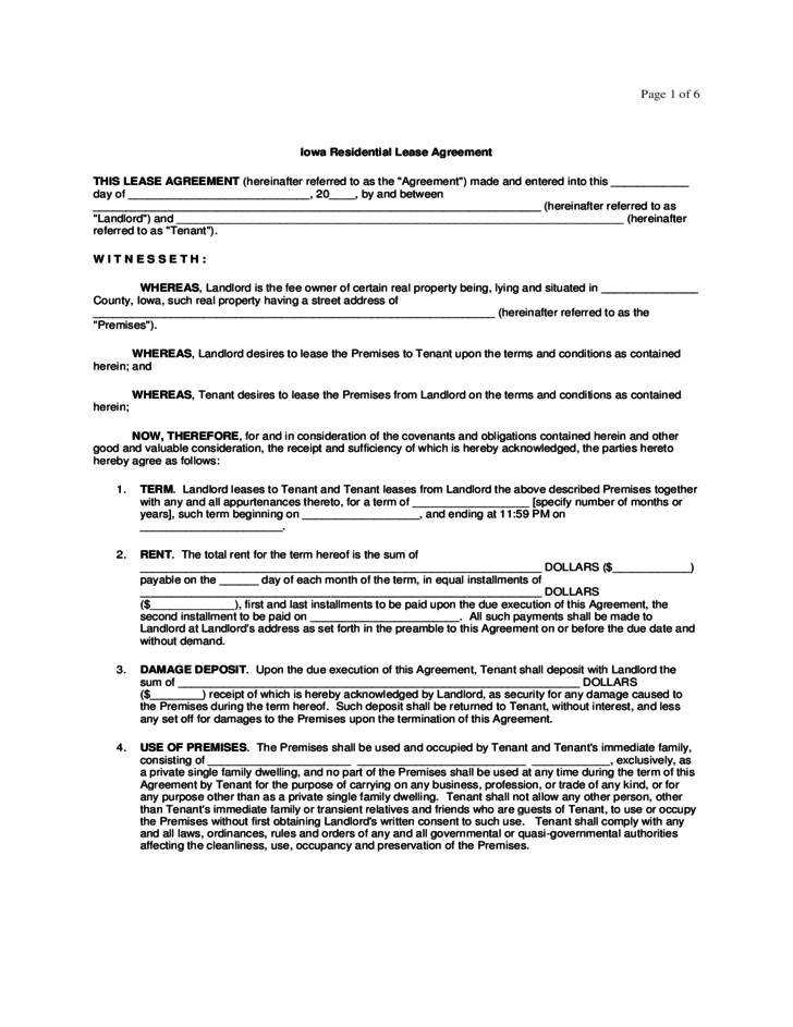 6 Month Lease Agreement Form Arizona