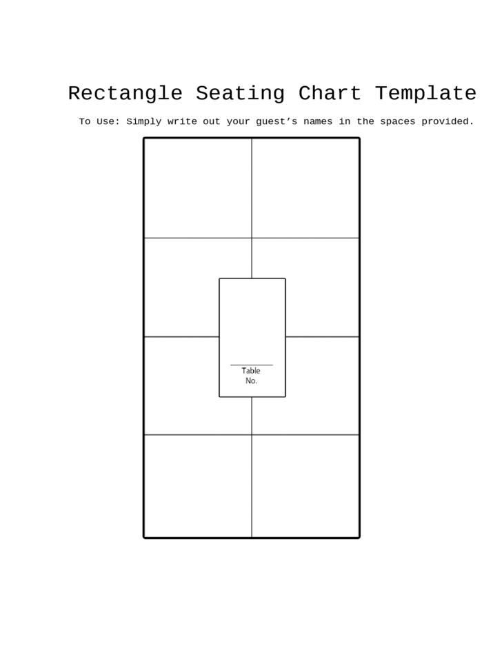 Rectangle Seating Chart Template Free Download