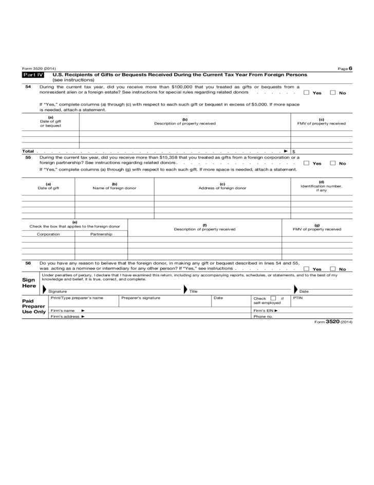 Foreign Gift Tax Form 3520 Creativepoem