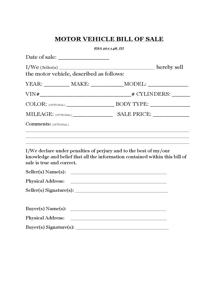 Motor Vehicle Bill Of Sale Template New Hampshire Free