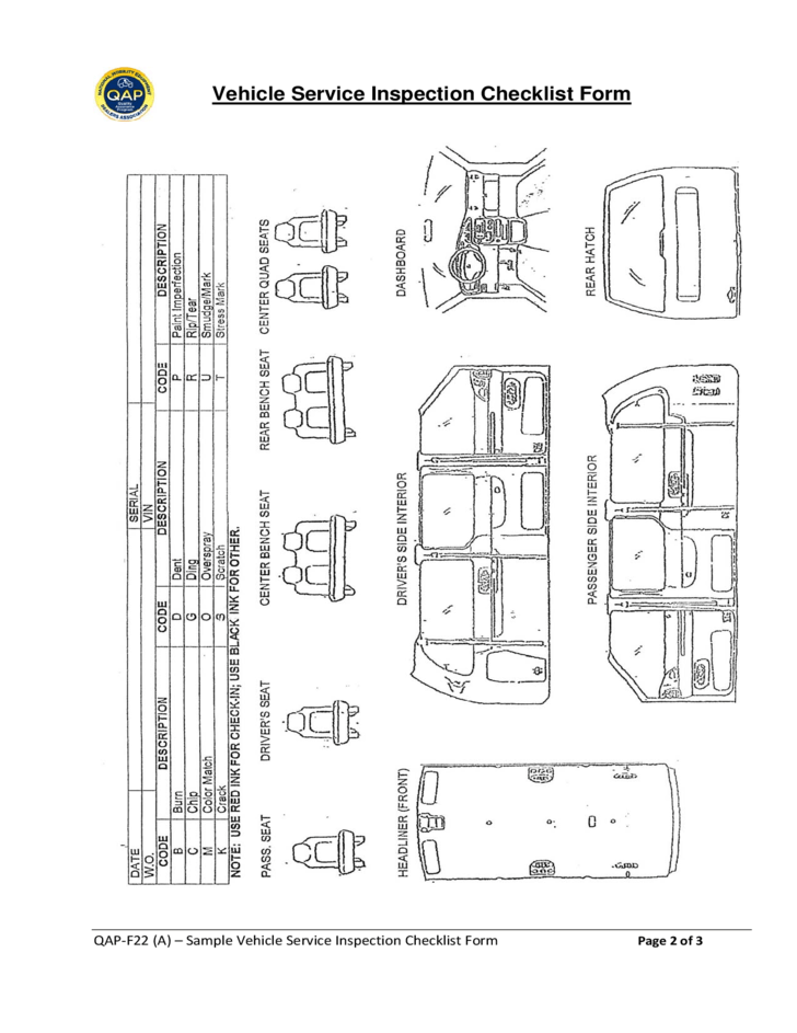 passenger van inspection diagram