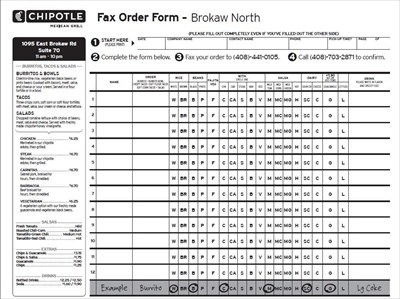 graphic regarding Chipotle Order Form Printable referred to as Effective Chipotle Fax Acquire Sort pdf for everybody