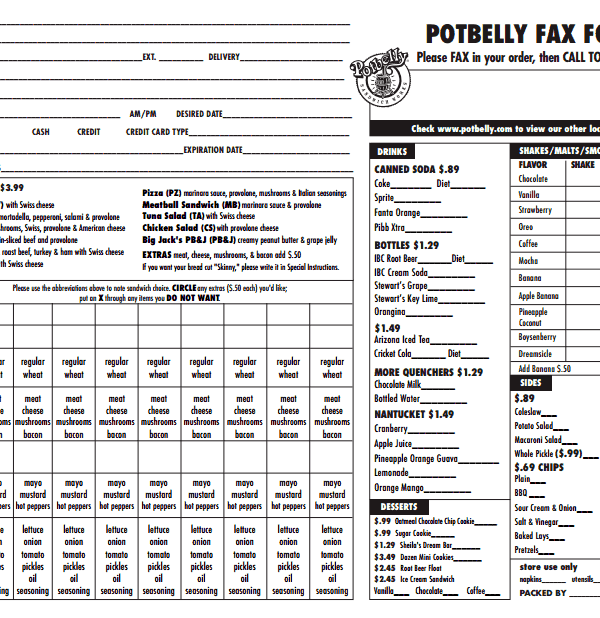 photograph relating to Potbelly Printable Menu referred to as Basic Potbelly Fax Acquire Kind for your Sandwich
