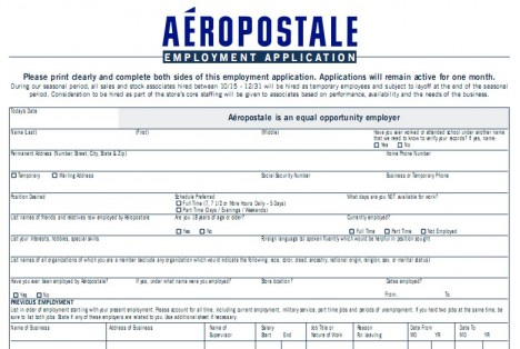aeropostale application form