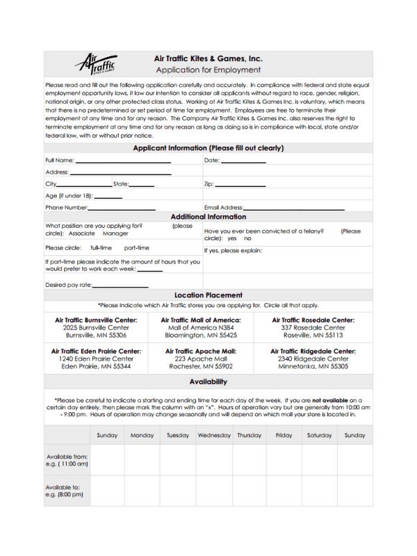 Air Traffic Kites and Games Job Application Form