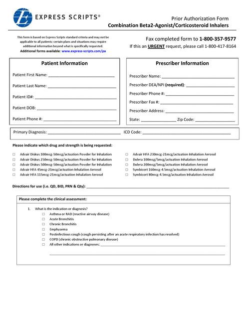 Express Scripts prior authorization form Celebrex