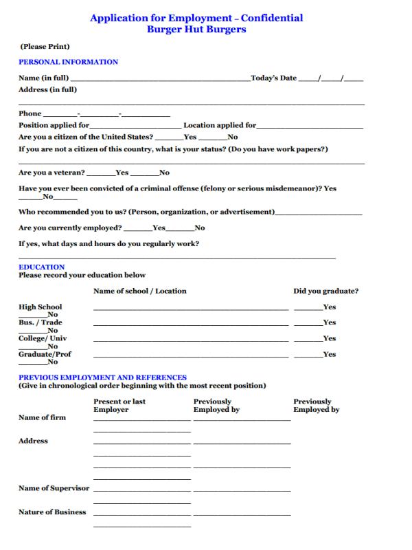Burger Hut job application form