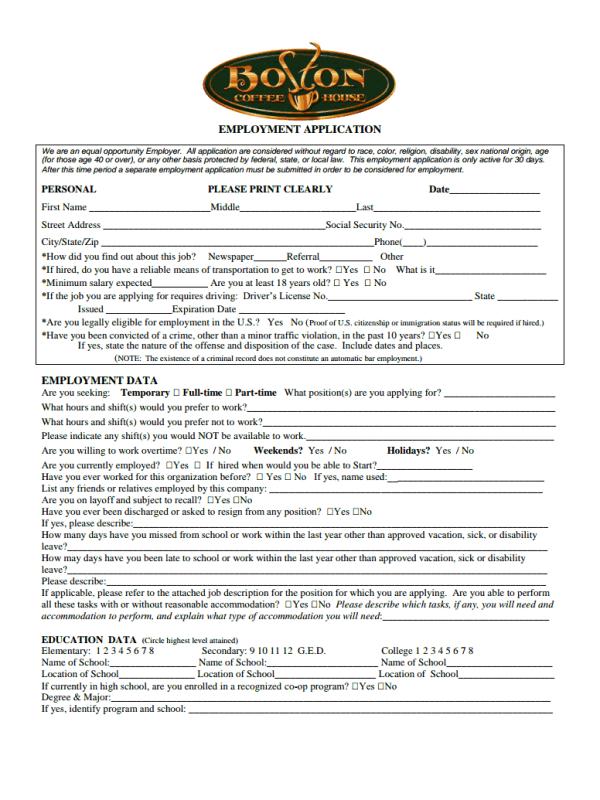 Boston Coffee House Job Application Form