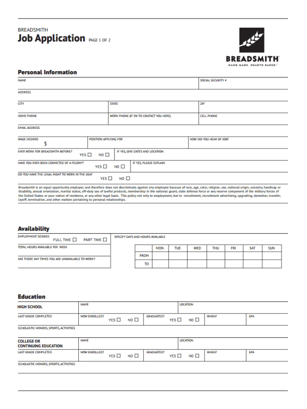 Breadsmith Job Application Form