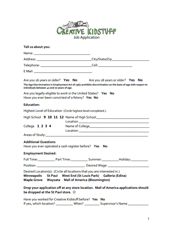 Creative Kidstuff Job Application Form