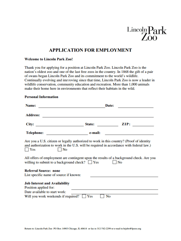 Lincoln Park Zoo Job Application Form