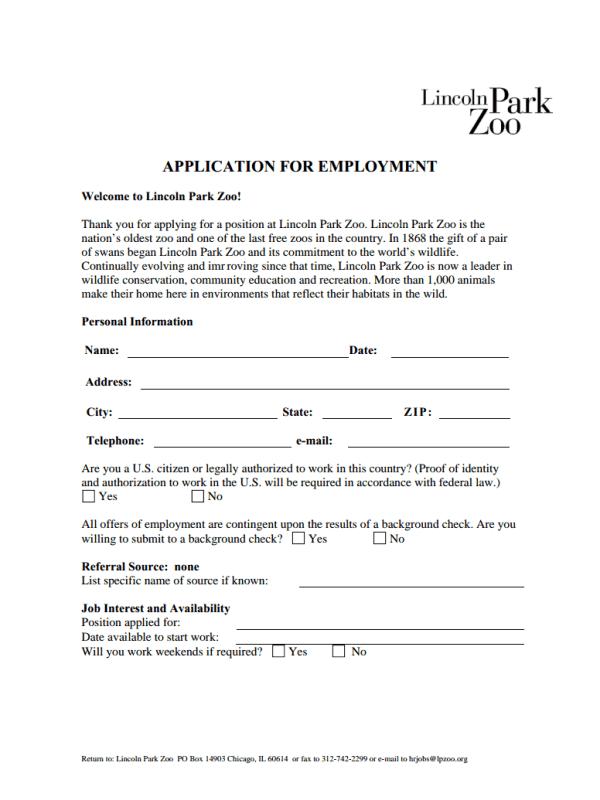 Lincoln Park Zoo Job Application Form
