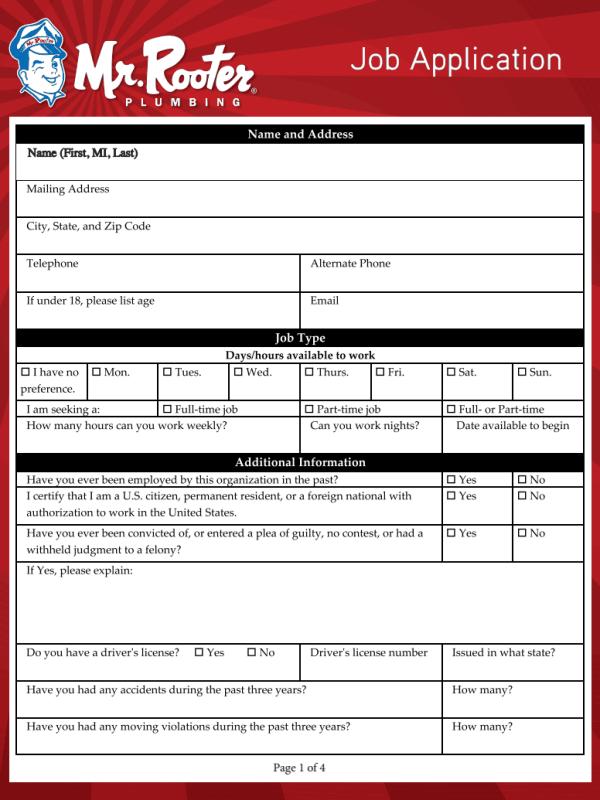 Mr Rooter Job Application Form