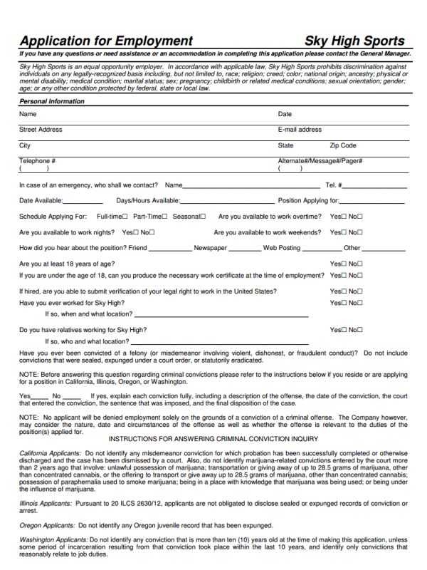 Sky High Sports Job Application Form