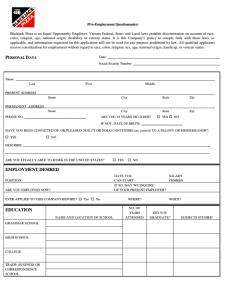 Blackjack Pizza Job Application Form